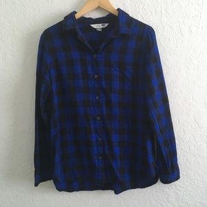 Old Navy Blue & Black Plaid Perfect Shirt